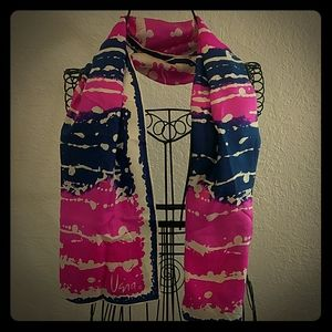 Vintage Scarves by Vera Pink and Blue Splash Scarf